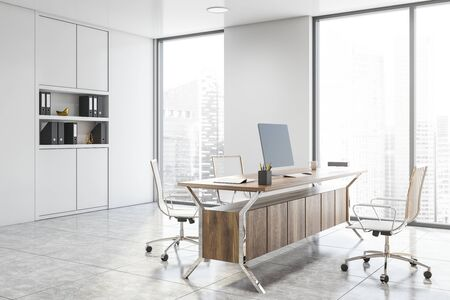 Corner of stylish CEO office with white walls, tiled floor, wooden computer table with chairs and white bookcase with folders. 3d rendering Stock fotó