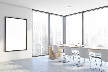 Corner of stylish dining room with white walls, concrete floor, panoramic window with cityscape and long white and wooden table with chairs. Vertical mock up poster frame. 3d rendering Stock fotó
