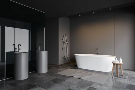 Corner of stylish bathroom with grey panel and glass walls, tiled floor, comfortable bathtub and two grey oblong sinks. 3d rendering Banco de Imagens