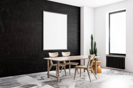 Corner of modern dining room with black and white walls, marble floor, wooden table with chairs and vertical mock up poster frame. 3d rendering