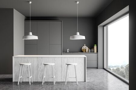 Interior of stylish kitchen with gray walls, concrete floor, grey countertops, white wooden bar with stools and panoramic window. 3d rendering Stock Photo