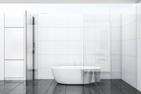 Interior of comfortable bathroom with white tile and glass walls, gray tiled floor and comfortable bathtub with towel hanging on it. 3d rendering