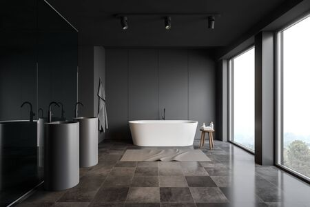 Interior of stylish bathroom with grey and glass walls, tiled floor, panoramic windows, comfortable bathtub and two oblong sinks. 3d rendering