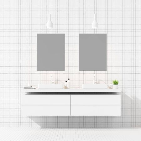 Interior of stylish bathroom with white tile walls and floor, double sink standing on white countertop and two mirrors above it. 3d rendering