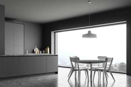 Corner of panoramic kitchen with gray walls, concrete floor, grey countertops, island with built in sink and round dining table with white chairs. 3d rendering