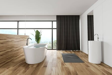 Interior of spacious bathroom with white panel and wooden walls, wooden floor, panoramic window with curtains, comfortable bathtub and round sink with large mirror. 3d rendering Banco de Imagens