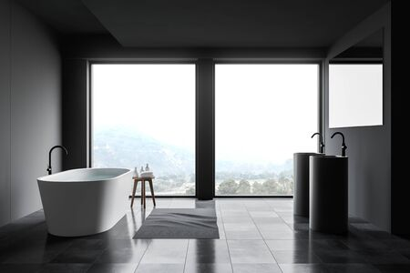Interior of panoramic bathroom with grey and panel walls, tiled floor, comfortable bathtub, double round sink with large mirror and window with beautiful view. 3d rendering