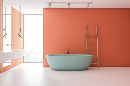 Interior of loft bathroom with bright orange walls, white floor, double sink with vertical mirrors, comfortable blue bathtub and wooden ladder. 3d rendering