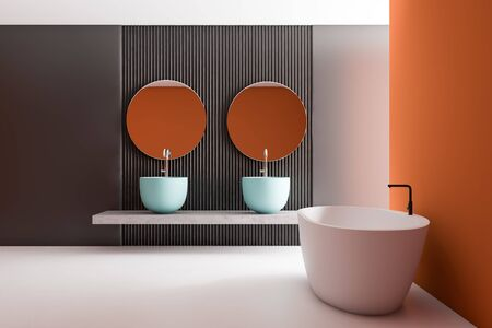 Interior of stylish bathroom with gray and orange walls, white floor, massive blue double sink with round mirrors and comfortable white bathtub. 3d rendering Stockfoto