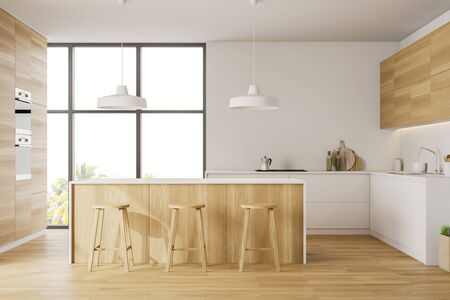 Interior of modern kitchen with white and wooden walls, wooden floor, comfortable white countertops, wooden cupboards and wooden bar with stools. 3d rendering