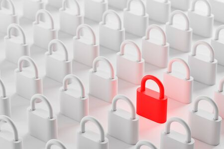 Closed red padlock standing among white ones on white surface. Concept of digital security, privacy and data protection. 3d rendering