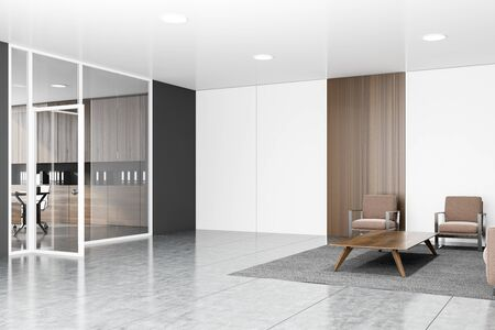 Interior of stylish office waiting room with gray, white and wooden walls, concrete floor, brown sofa and armchairs near coffee table and glass wall CEO office in background. 3d rendering 写真素材