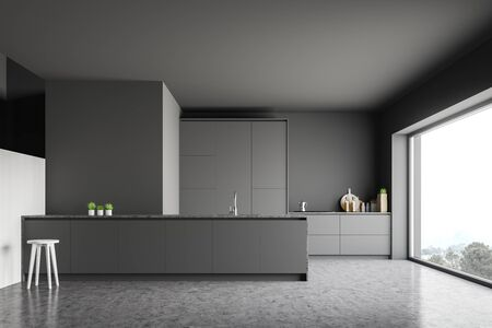 Interior of modern kitchen with gray walls, concrete floor, grey countertops, island with chair and panoramic window. 3d rendering Stok Fotoğraf