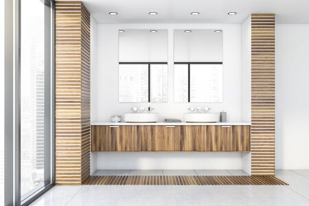 Interior of luxury bathroom with white and wooden walls, tiled floor, two round sinks on wooden countertop and vertical mirrors. 3d rendering Stock Photo