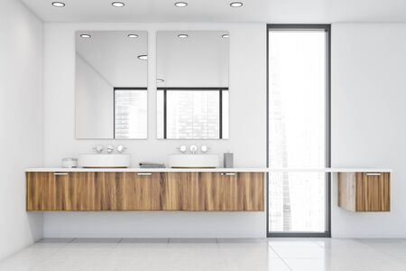 Interior of stylish bathroom with white walls, narrow window and round double sink standing on wooden countertop. 3d rendering