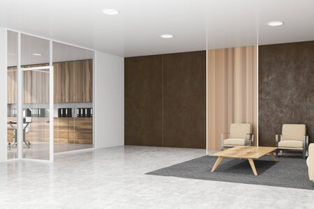 Interior of stylish office waiting room with brown, white and wooden walls, concrete floor, beige sofa and armchairs near coffee table and glass wall CEO office in background. 3d rendering 写真素材