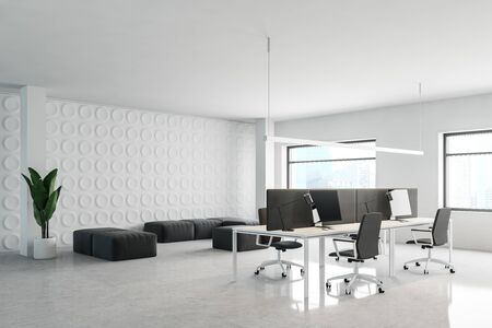 Corner of modern office waiting room with white and geometric pattern walls, comfortable gray armchairs and sofas and rows of white computer tables. 3d rendering 写真素材