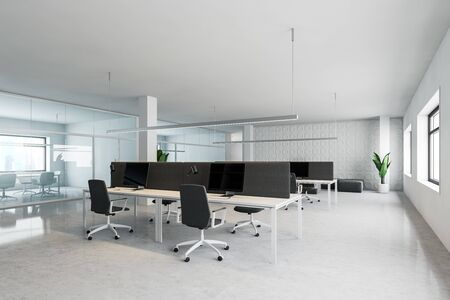 Corner of modern open space office with geometric pattern walls, rows of computer tables with lounge area and conference room with glass walls. 3d rendering