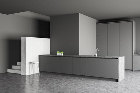 Corner of stylish kitchen with gray and white walls, concrete floor, staircase and grey island with built in sink. 3d rendering Stock Photo - 132000441