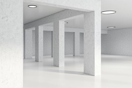 Columns in empty office hall interior with white walls, concrete floor and stylish round lamps. Loft style. Concept of interior design. 3d rendering