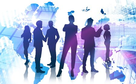 Silhouettes of diverse business people shaking hands and working together in modern city with double exposure of world map. Concept of international business partnership. Toned image 写真素材