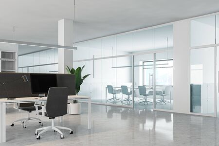 Modern office workplace with white and glass walls, white and gray computer tables and conference room with long table. 3d rendering