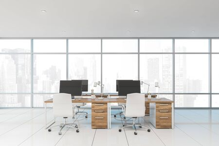 Interior of stylish panoramic open space office with white tiled floor, rows of wooden computer desks with white chairs and cityscape. 3d rendering