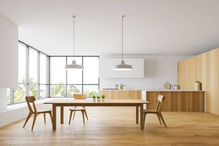 Interior of spacious kitchen with white and wooden walls, wooden countertops with built in sink and stove, island and long wooden dining table with chairs. 3d rendering Stock Photo
