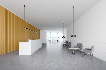 Interior of modern office with white and wooden walls, reception counter, lounge area with armchairs and conference room in background. 3d rendering