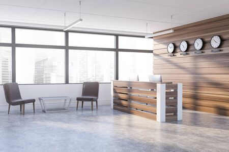 Interior of modern office waiting room with white and dark wooden walls, concrete floor, reception desk with clocks showing world time and armchairs near coffee table. 3d rendering