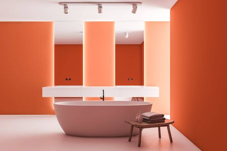 Interior of bright bathroom with orange walls, white floor, double sink with vertical mirrors, comfortable bathtub and chair with towels and beauty products. 3d rendering