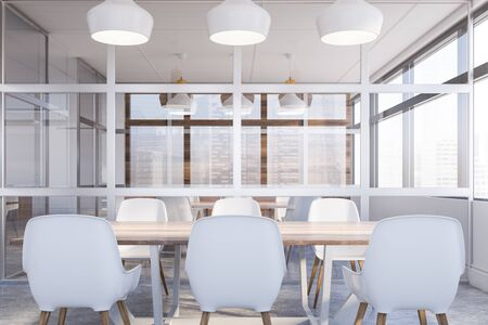Interior of modern meeting room in office with white and glass walls, concrete floor and long wooden conference table with white chairs. Concept of discussion. 3d rendering