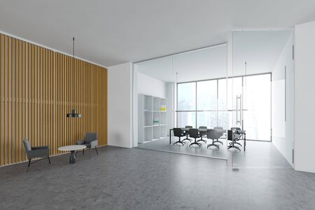 Stylish office conference room with white walls, concrete floor, panoramic window with cityscape and long gray meeting table with chairs. Lounge area with armchairs and coffee table. 3d rendering Stok Fotoğraf