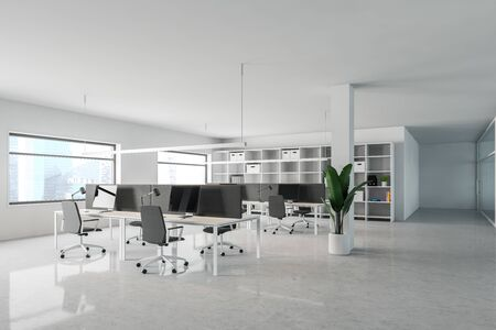 Corner of stylish open space office with white walls, concrete floor, rows of computer tables with gray chairs and windows with cityscape. 3d rendering