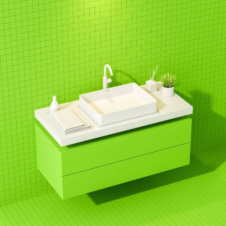 Corner of stylish bathroom with green tile walls and floor and sink standing on bright green countertop with towels and beauty products. 3d rendering