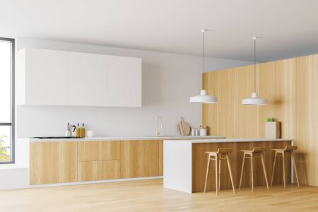 Corner of spacious kitchen with white and wooden walls, wooden floor, large windows, wooden countertops, white cupboards and bar with stools. 3d rendering Stock Photo