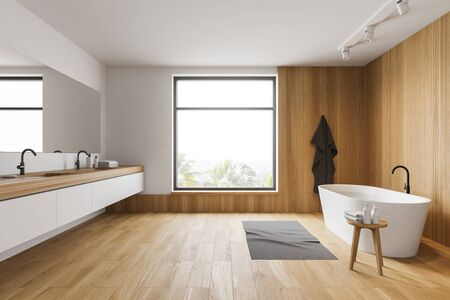 Side view of modern bathroom with white and wooden walls, wooden floor, comfortable white bathtub and double sink on white countertop. 3d rendering