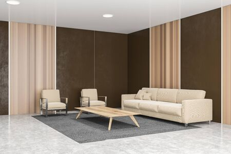 Corner of stylish office waiting room with brown and wooden walls, concrete floor, beige sofa and armchairs near coffee table standing on gray carpet. 3d rendering