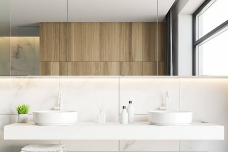 Close up of double sink tanding in modern bathroom with white marble and wooden walls and large mirror. 3d rendering Stock Photo