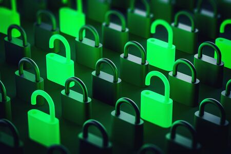 Glowing open green and black padlocks standing on black surface. Concept of online security and private data protection. 3d rendering