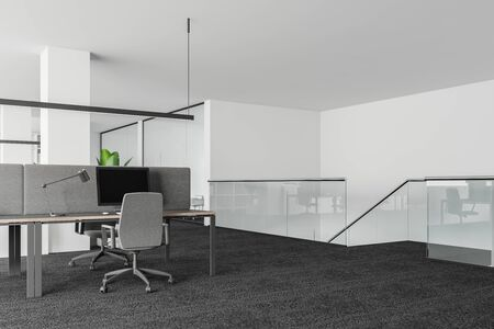 Interior of modern office with white walls, carpeted floor, rows of computer tables and staircase with glass railing. 3d rendering