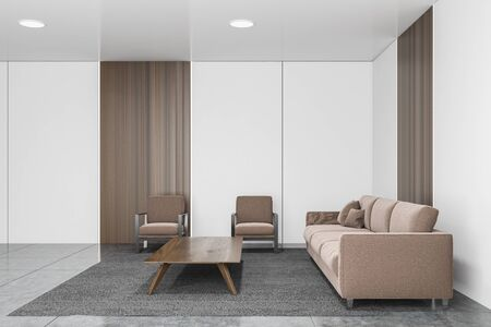 Interior of stylish office waiting room with white and wooden walls, concrete floor, brown sofa and armchairs near coffee table standing on gray carpet. 3d rendering