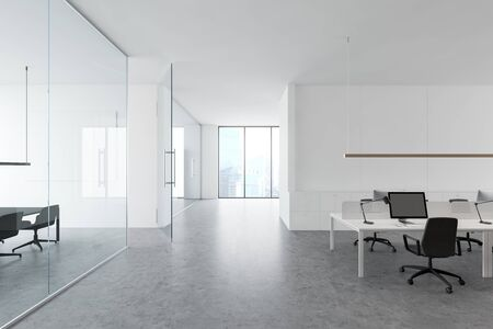 Interior of modern office with white walls, concrete floor, computer tables, window with cityscape and glass wall meeting room. 3d rendering