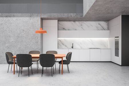 Interior of spacious kitchen with white marble and concrete walls, stone floor, white countertops and cupboards and orange dining table with gray chairs. 3d rendering