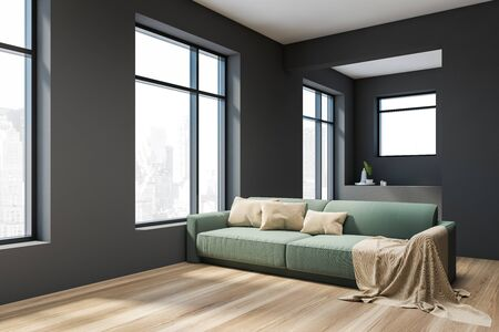 Corner of stylish gray living room with wooden floor, comfortable green sofa with cushions and large windows. 3d rendering
