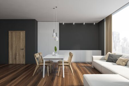 Interior of comfortable modern dining room with grey walls, wooden floor, comfortable white sofa with cushions and white table with wooden chairs. 3d rendering