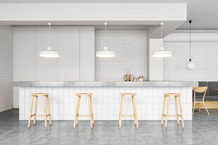 Interieur eines komfortablen minimalistischen Pubs mit weißen Ziegelwänden, Betonboden, langem Barstand mit Hockern und gemütlichem grauem Sofa. 3D-Rendering