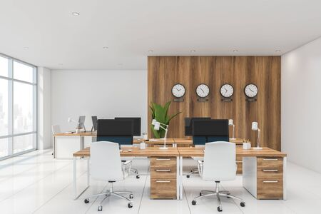 Interior of international company office with white and wooden walls, tiled floor, rows of wooden computer desks and clocks showing world time. 3d rendering