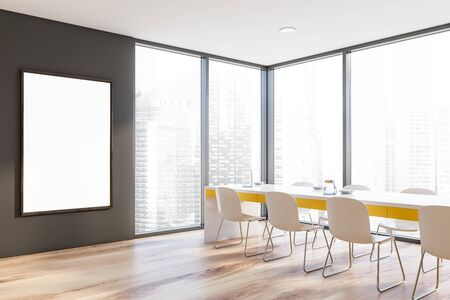 Corner of stylish dining room with gray walls, wooden floor, panoramic window with cityscape and long yellow table with white chairs. Vertical mock up poster frame. 3d rendering Stock fotó