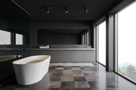 Interior of stylish bathroom with gray and glass walls, tiled floor, panoramic windows, comfortable bathtub and double sink with horizontal mirror. 3d rendering Stockfoto